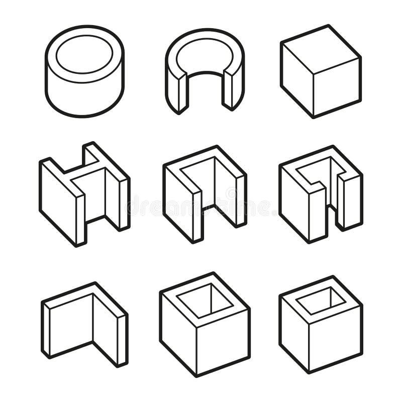 Metall profilerar symbolsuppsättningen Stålprodukter vektor stock illustrationer