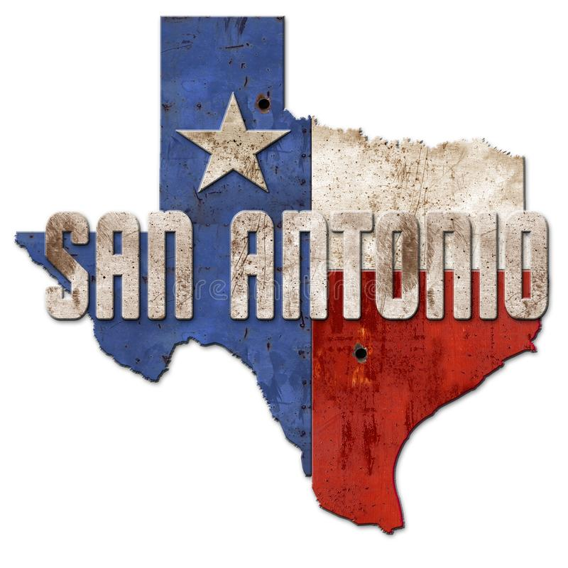 Metall Sans Antonio Sign Grunge Texas Flag Lone Star vektor abbildung