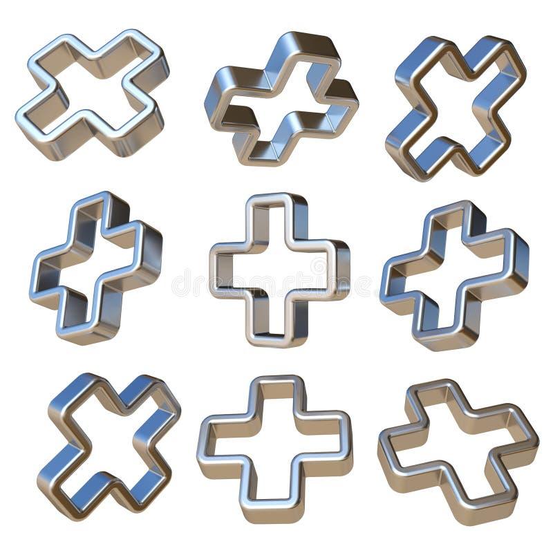 Metall som är dimensionell plus tecknet 3D royaltyfri illustrationer