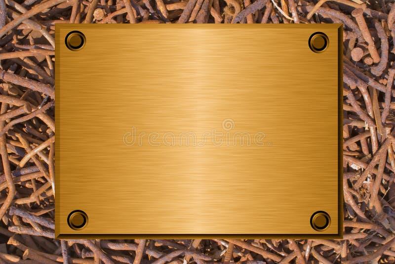 metall spikar den rostiga plattan royaltyfri illustrationer