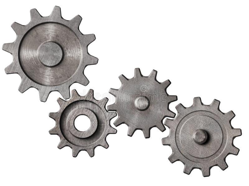 Metall utrustar, och kuggar samla i en klunga den isolerade illustrationen 3d vektor illustrationer