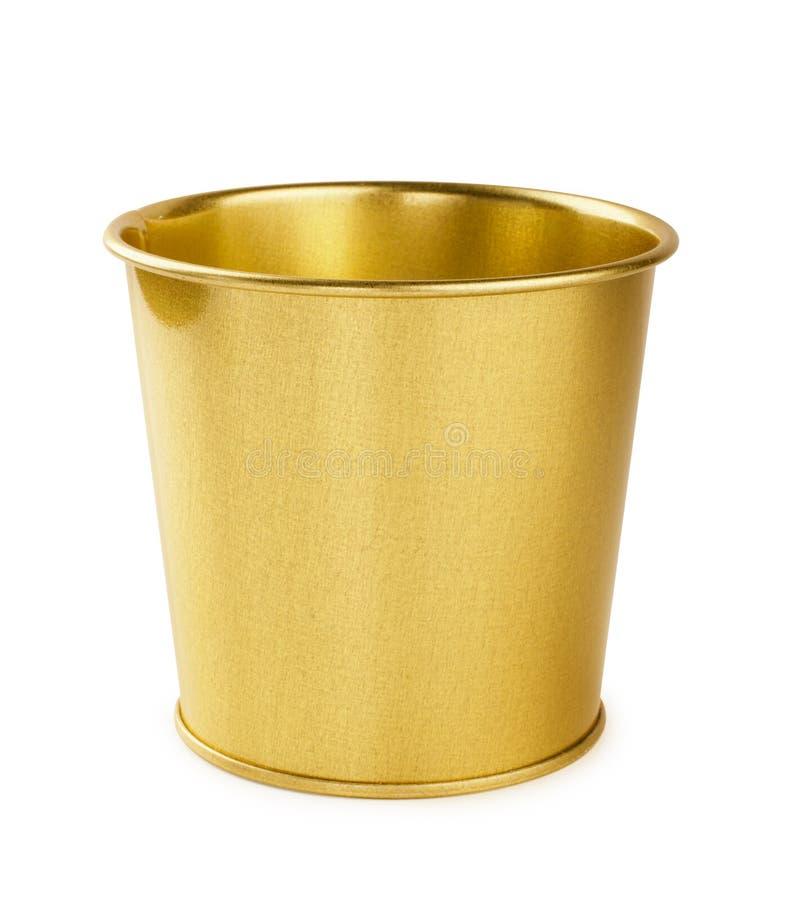 Metall vergoldet, goldener Eimer lizenzfreie stockfotografie