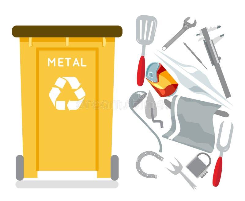 Metallafval van het het ontwerppictogram van de recyclingsvuilnisbak de afval geïsoleerde vlakke vectorillustratie royalty-vrije illustratie