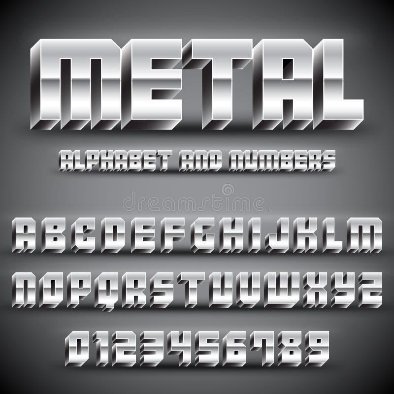 Metallalfabet och nummer vektor illustrationer