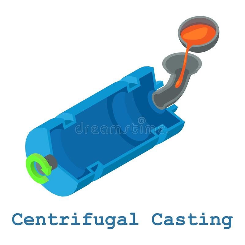 Metallarbetesymbol för centrifugal rollbesättning, isometrisk stil 3d stock illustrationer