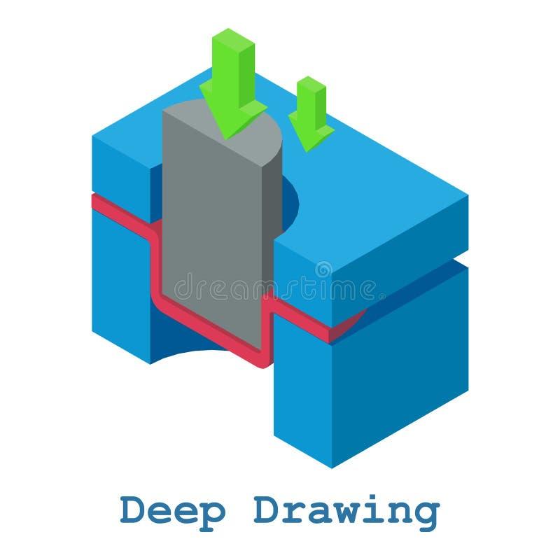 Metallarbetesymbol för djup teckning, isometrisk stil 3d vektor illustrationer