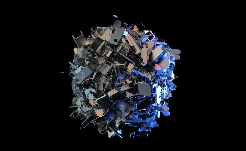 Metallavfall samlas i en boll vektor illustrationer