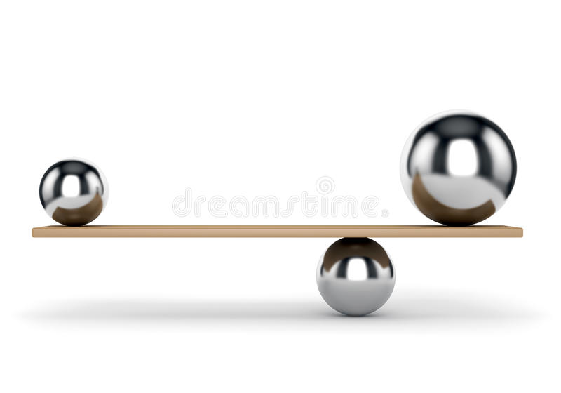 Metallbälle balanciert auf Planke stock abbildung