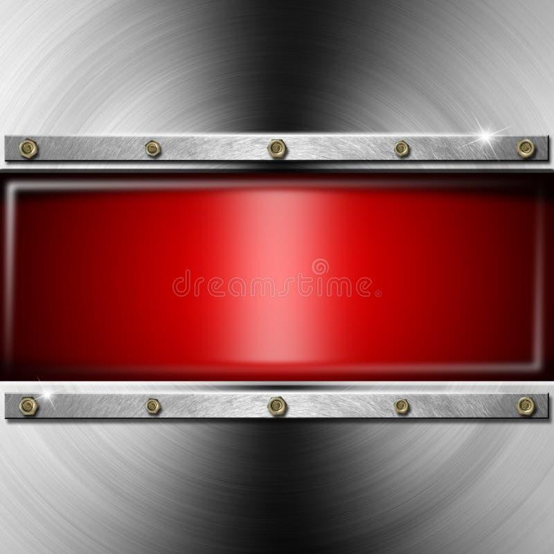 Metallbakgrund med den röda skärmen royaltyfri illustrationer