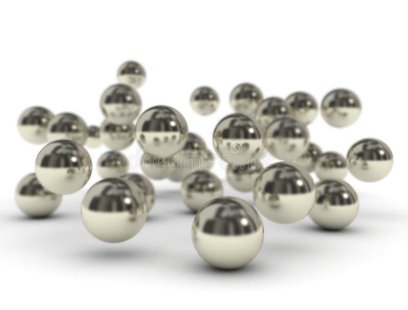 Metallbollar på vit bakgrund vektor illustrationer