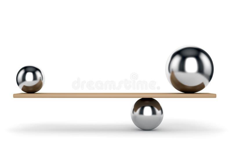 Metallbollar som balanseras på planka stock illustrationer
