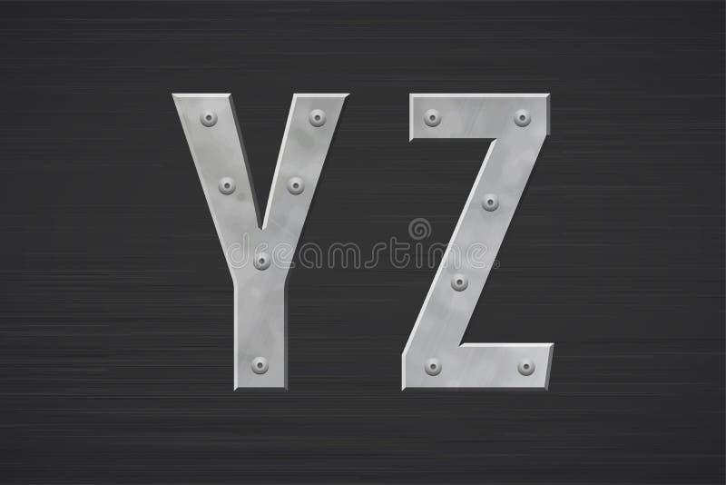 Metallbuchstaben mit Niet lizenzfreie stockfotos