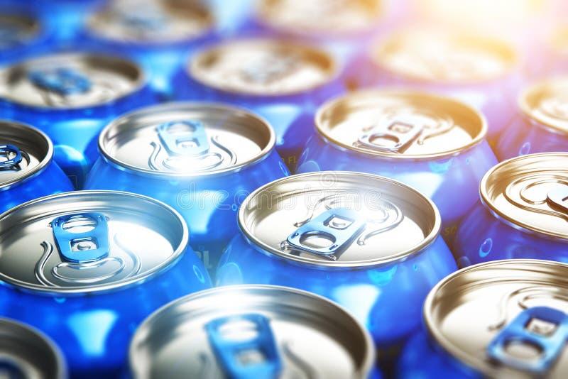 Metallcans med förnyande drinkar för sodavatten stock illustrationer