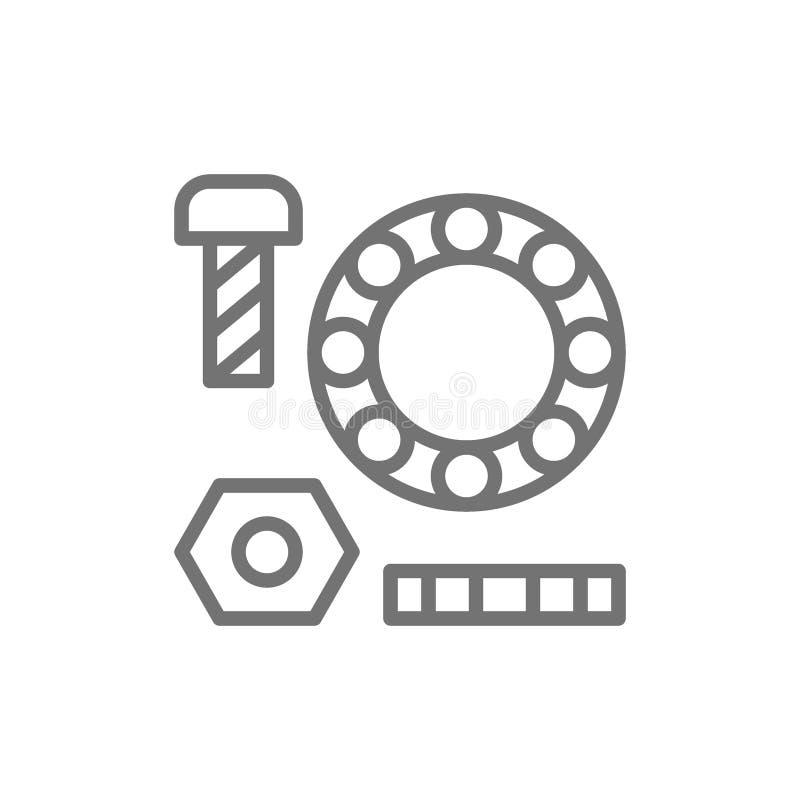 Metalldelar, packningar med bultar och lager fodrar symbolen vektor illustrationer