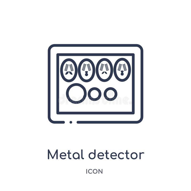 Metalldetektorsymbol från museumöversiktssamling Tunn linje metalldetektorsymbol som isoleras på vit bakgrund stock illustrationer