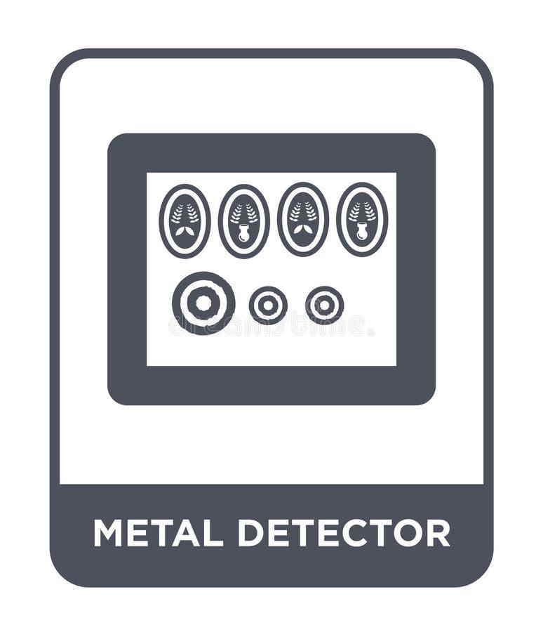 metalldetektorsymbol i moderiktig designstil metalldetektorsymbol som isoleras på vit bakgrund enkel metalldetektorvektorsymbol vektor illustrationer