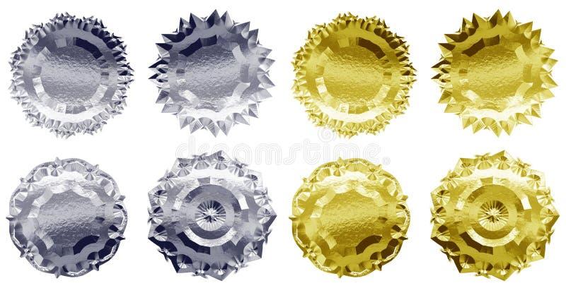 Metallemblem eller medaljer arkivfoton
