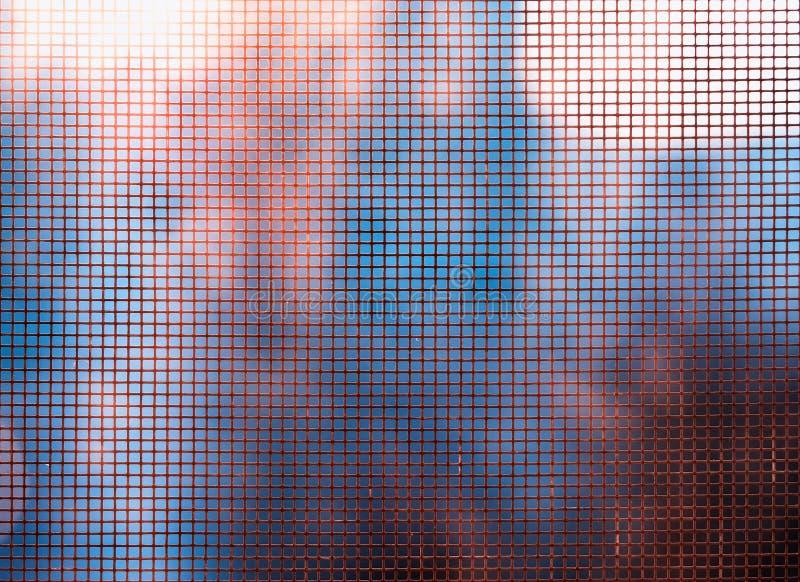 Metallfenstergitter-Beschaffenheitshintergrund stockfoto