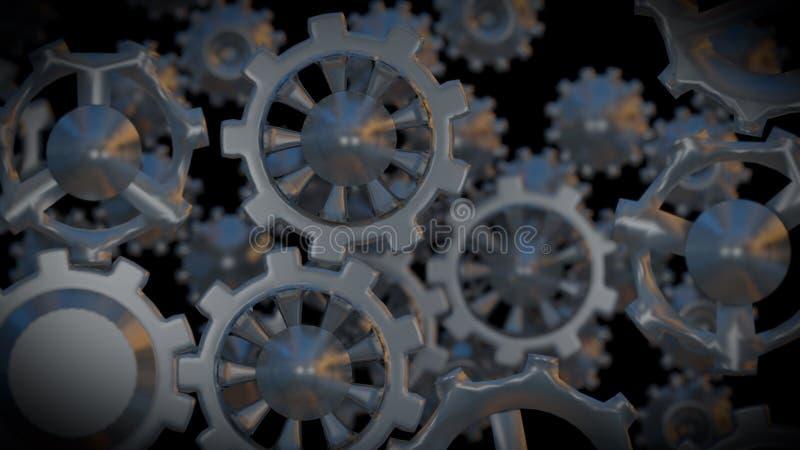 Metallgänge im schwarzen Hintergrund 3d übertragen lizenzfreie abbildung
