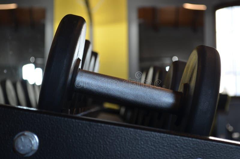 Metallhantlar i rad i idrottshall fotografering för bildbyråer