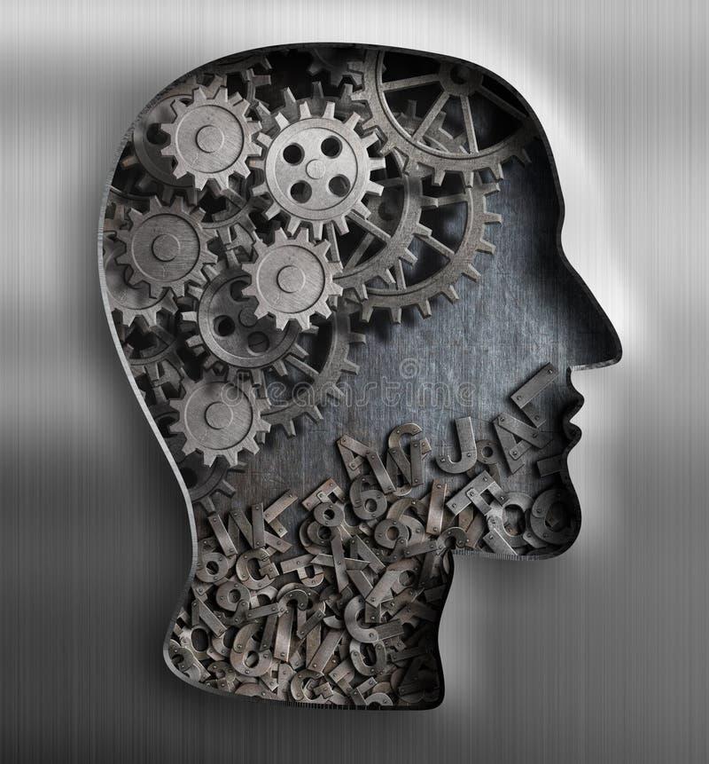 Metallhjärna Tänka psykologi, kreativitet royaltyfri illustrationer