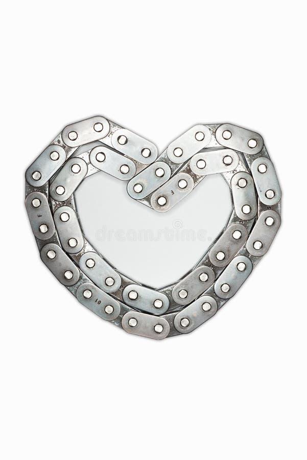 Metallhjärtan från kedja med kombinationsförälskelsehjärta som isoleras på den vita bakgrunden vita isolerade valentiner för begr royaltyfri bild