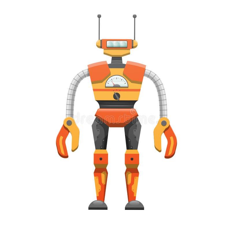 Metallhumanoid-Roboter mit Antennen-Illustration lizenzfreie abbildung