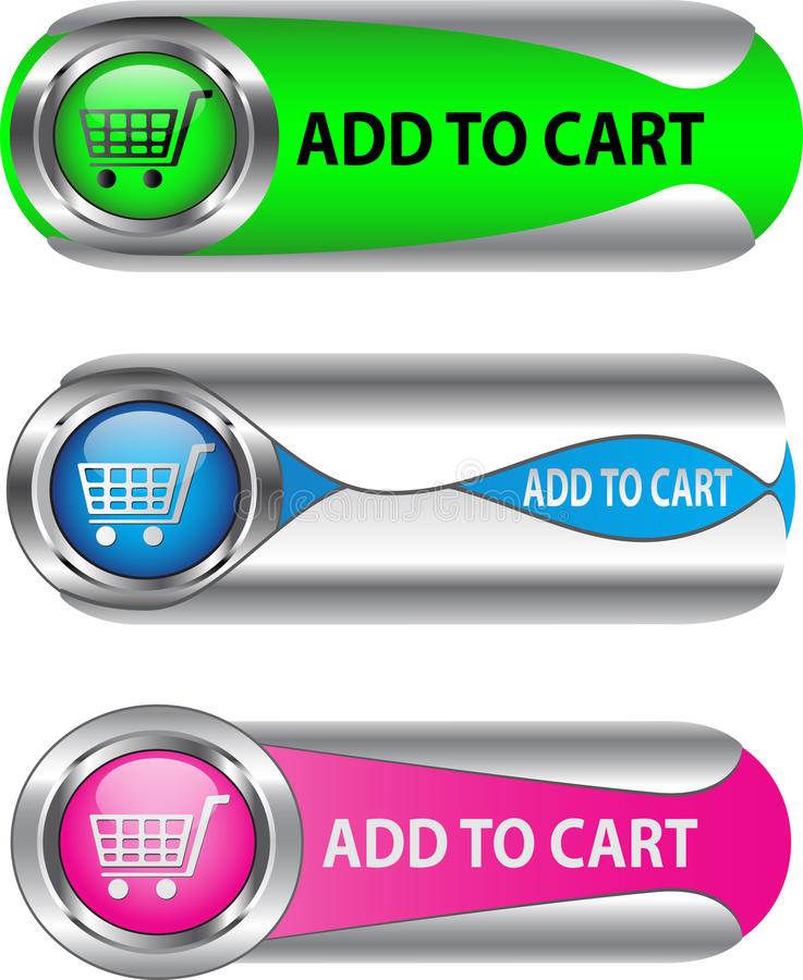Metallic Add To Cart button/icon set. For web applications. Vector royalty free illustration