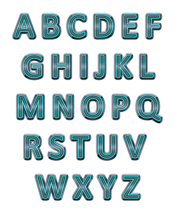 Metallic alphabet. royalty free illustration