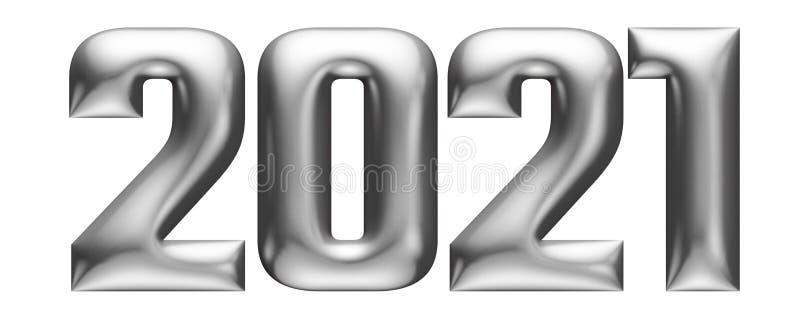 Metallic embossed numbers, alphabet, new year 2021, 3d illustration royalty free illustration