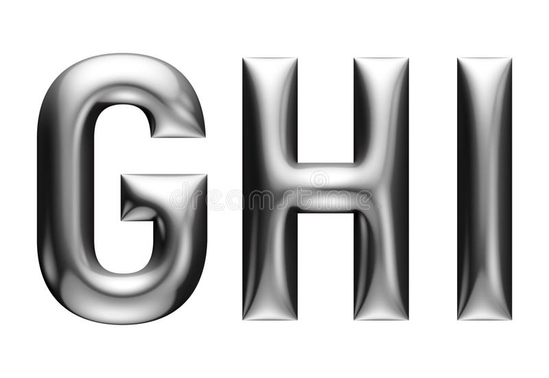 Metallic alphabet with linear font, G H I letters, chrome effect with bevel, white background vector illustration