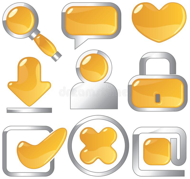 Metallic amber icons stock illustration