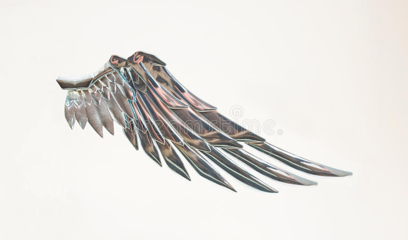 Metallic angel wing.Freedom symbol stock images