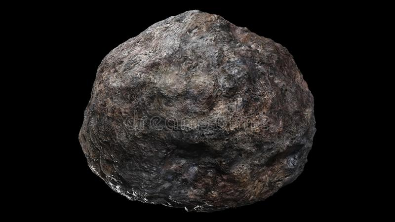 Metallic Asteroid 3D rendering over black background vector illustration