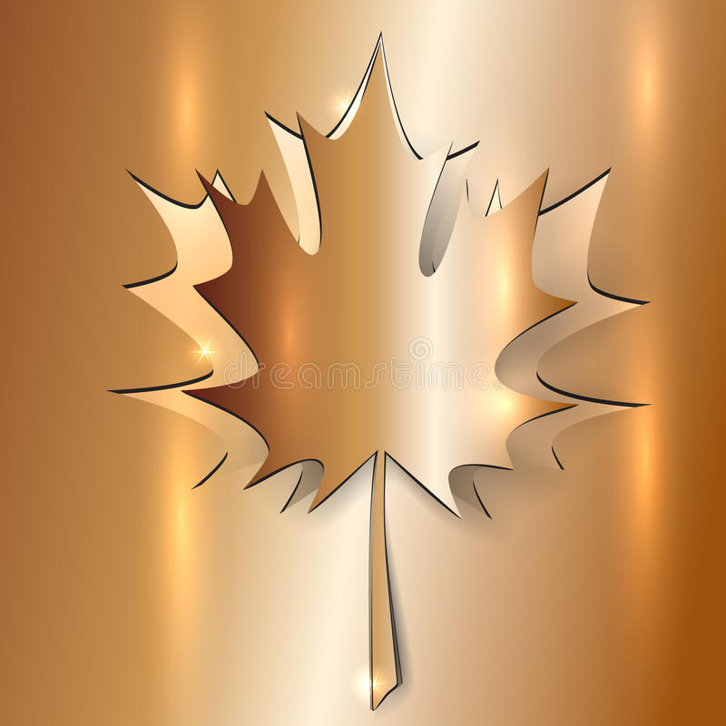 Download Metallic Autumn Maple Leaf stock vector. Image of background - 34793376