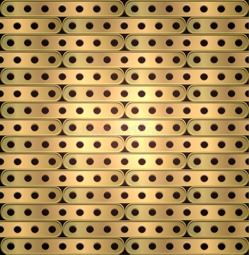 Metallic background of long plates with holes in steampunk style royalty free illustration