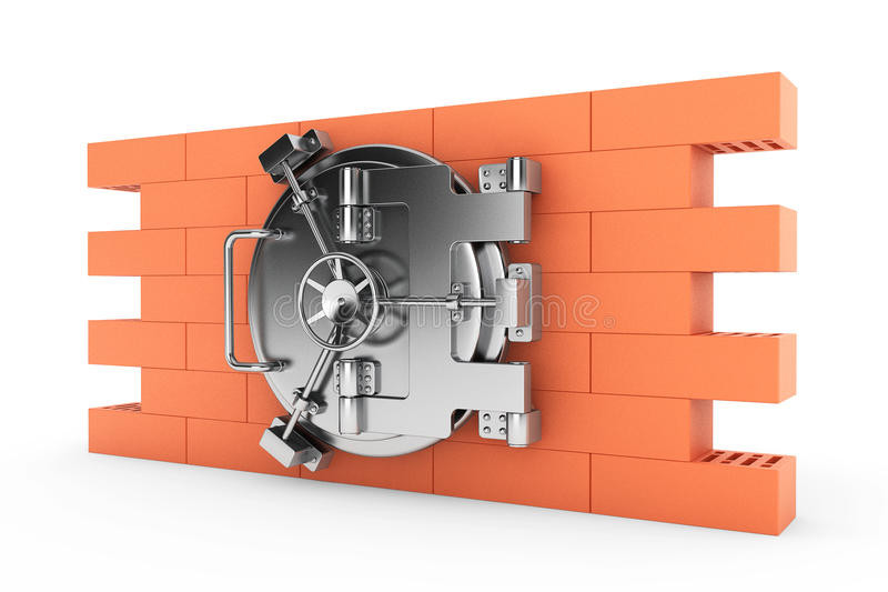 Metallic Bank Vault Door over the Brick Wall. On a white background royalty free stock photos