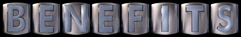 Metallic benefits word. Metallic blue silver benefits word realistic 3d rendered on black background vector illustration