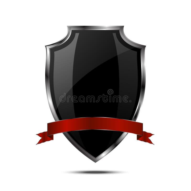 Metallic black silver shield royalty free illustration