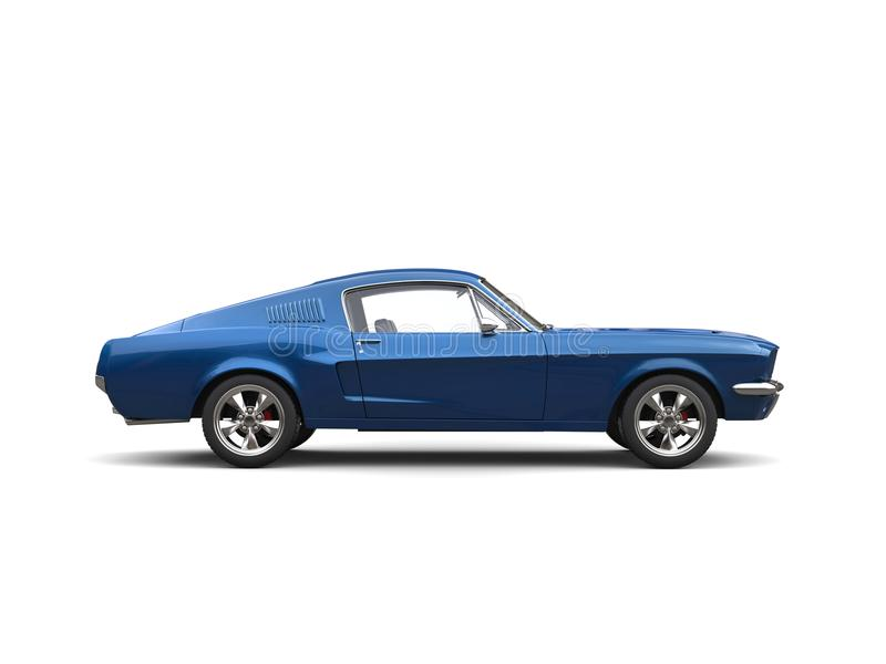 Metallic blue American vintage muscle car - side view. Isolated on white background stock photo