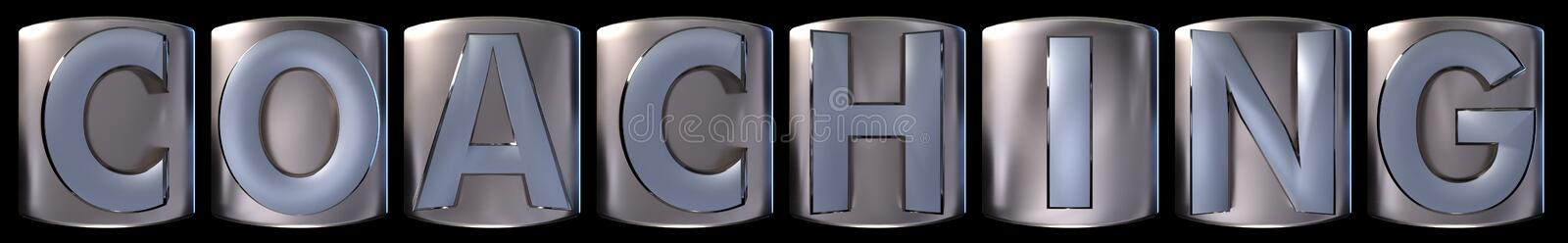 Metallic coaching word. Metallic blue silver coaching word realistic 3d rendered on black background vector illustration