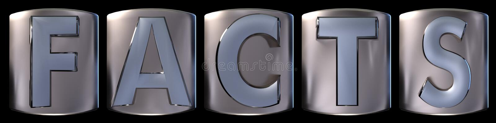 Metallic facts word. Metallic blue silver facts word realistic 3d rendered on black background vector illustration