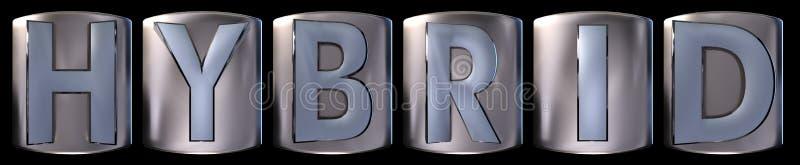 Metallic hybrid word vector illustration