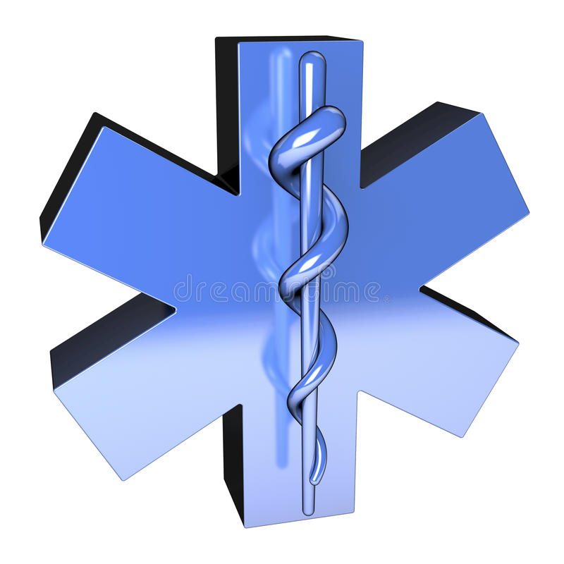Metallic blue star of life, from top left. Metallic blue star of life on white background, 3d rendering royalty free illustration
