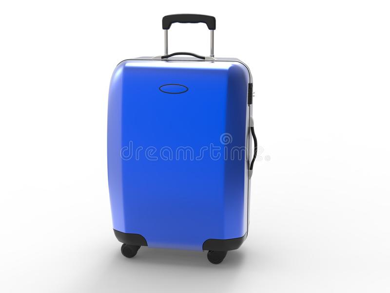 Metallic blue suitcase royalty free stock photography