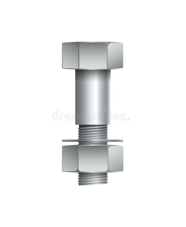 Metallic bolt with nut isolated on white vector illustration
