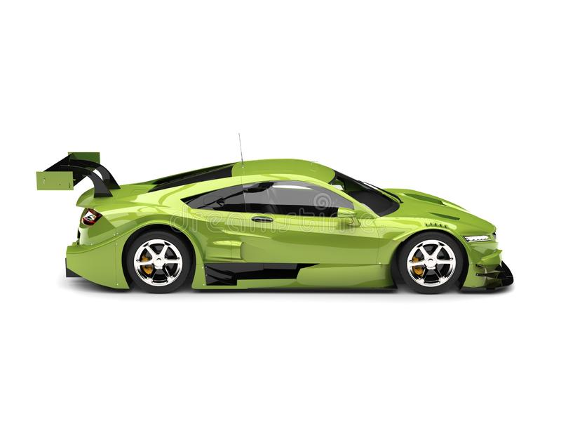 Metallic bright green modern super sports car - side view. Isolated on white background royalty free illustration