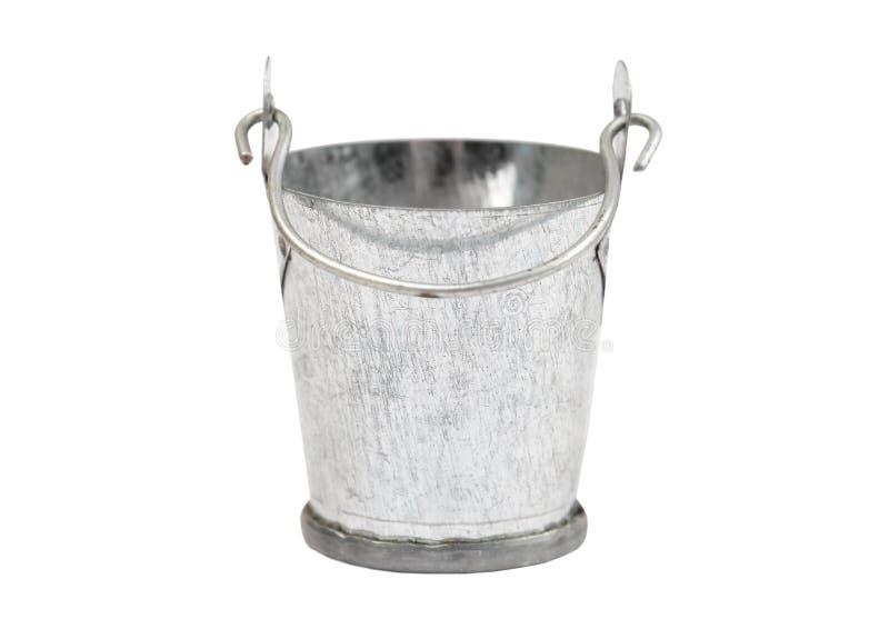 Metallic bucket on white. Metallic zinced bucket, isolated on white background stock photography
