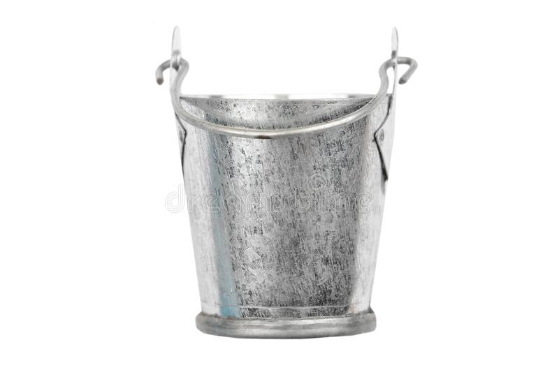 Metallic bucket on white. Metallic zinced bucket, isolated on white background royalty free stock photos