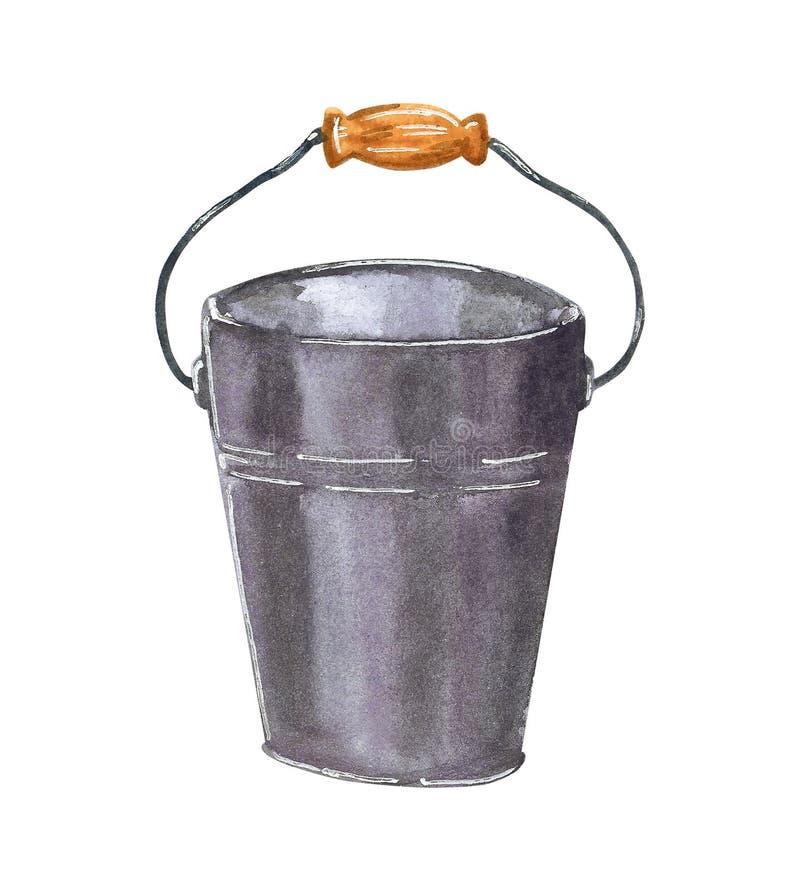 Metallic bucket with wooden handle, hand drawn watercolor illustration stock illustration